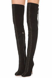 Wholesale Sexy Stylish High Heels - 2016 stylish Europe pointed toe ladies sexy long boots front back cross straps stiletto heels woman winter over the knee boots