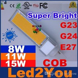 Wholesale G24 8w Cool White - Newest 8W 11W 15W G24 G23 E27 Led Bulbs cob Led PL Lights Super Bright 270 Angle Led Lights For Indoor Lighting 85-265V