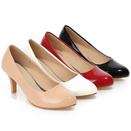 Wholesale Nude Color Work Dress - SJJH Women Nude Color Patent Leather Pumps Red Pointy Toe Basic Work Stiletto High Heel Pump Stilettos Party Shoes EXD208