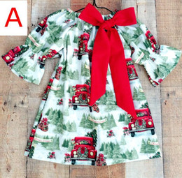 Wholesale Car Ribbon Print - Girls Christmas dress Baby big bow Boutique cloth Santa Tree Car Printed Dress Children Ruffle Sleeve Dress for 1-5Years