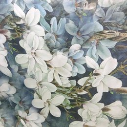 Wholesale Digital Printed Silk Chiffon Fabric - dpc-33074 Flower on Graylish Blue 100% Pure Silk Digital Printed Silk Chiffon Fabric 6 momme for DressMaking By Meter