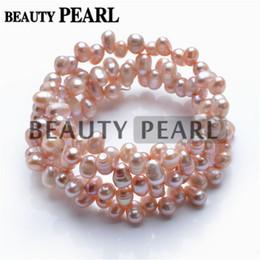 Wholesale Purple Bangle Bracelets - 6-7mm Dancing Pearl Light Purple Freshwater Cultured Pearls Handmade Bangle Women Bracelet Bridal Wedding Jewelry Perfect Gift