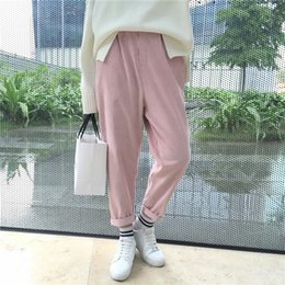 Wholesale Loose Pants For Women Wholesale - Hot sale Autumn and winter fashion casual loose Solid Color corduroy elastic waist pantyhose harem pants for women
