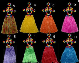 Wholesale Bra Wedding Dress - Children day Halloween costume party grass skirt Hawaiian grass skirt wedding accessories floral dress bra 60CM