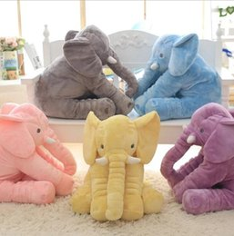 Wholesale Soft Stuffed Elephant Toy - 40cm Baby Long Nose Elephant Doll Plush Stuff Toys Sleep Pillow Elephant Baby Soft Plush Animal Toy Sleeping Pillow 5 color KKA2747