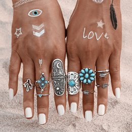 Wholesale Hand Ring Set - foreign trade new retro Bohemia national wind nine Turquoise Gemstone Rings hand ornaments combination set