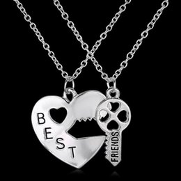 Wholesale Heart Shaped Lock Pendant - Hot ! 20pcs New Europe and America Heart-shaped lock and key Best Friends Pendant Necklace