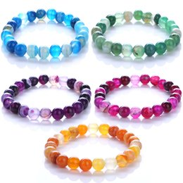 Wholesale Silk Agate - Round Beads Bracelets & Bangles Bead Natural Onyx For Women Elastic Rope Chain Elegant Silk Stripe Color lady Agate Bracelets Jewelry B973S