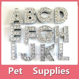 Wholesale Ornament Personalize - Wholesale 12 PCS DIY Slide Charms Letters A-Z Number 0-9 10mm Clear Rhinestone Letters Dog Pet Cat Name Personalized name DIY slider