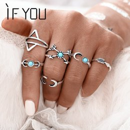 Wholesale Moon Stone Rings - IF YOU 6PCS Set Bohemia Vintage Turkish Beach Rings For Women Tibetan Silver Color knuckle Joint Moon Turkish Midi Ring Set 2017