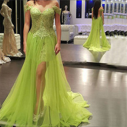 Wholesale Bud Light Blue - 2016 Sexy Prom Dresses Long Formal Sheer Neckline Lace Applique Bodice Evening Party Gowns Bud Green Short Inner Skirt Over Skirts
