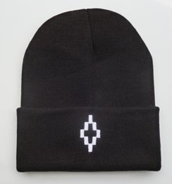 Wholesale Top Hats Color - 2016 White Marcelo burlon Logo embroidery letters Knitted Caps In Black Color Street Brand Hip Hop knit warm winter Skull beanie hats