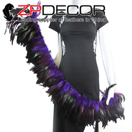 Wholesale Cheap Feather Cocktail Dresses - Made in ZPDECOR Factory 6-8 inch Dyed Purple Half Bronze Cheap Rooster Feather Strung Sale for Skirt Cocktail Party Dress