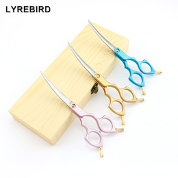 Wholesale Straight Scissors Inch - Lyrebird TOP CLASS pet Cosmetic Scissors 6 Inch Curved Scissors Pink Golden or Blue Handle Japan 440C High quality NEW