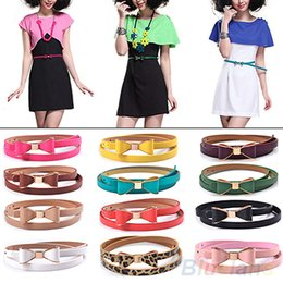 Wholesale Thin White Leather Belt - Wholesale-2016 hotFashion Women's Candy Color Big Bowknot PU Leather Thin Skinny Waistband Belt 8QN9