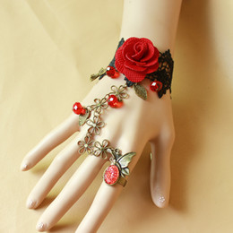 Wholesale Vintage Red Rose Bracelet - New Style Vintage Red Rose Charm Bracelets 2016 Hot Sale Ring and Bracelets Bead Black Lace High Quality Women Bracelets Wholesale