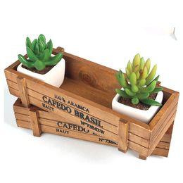 Wholesale Basin S - Solid Wood Pots Succulent Plants Wood Retro Square Basin Device Fleshy Vintage Garden Supplies Wooden Desktop Decorations