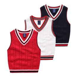 Wholesale Kids Knit Sweaters - Knitted vest Kids Sweater Twist V-neck 2017 England style All-matched Baby clothes children Autumn winter cotton knitwear 3-7years