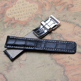 Wholesale Deployment Black Leather Strap - Hot Arrival Watch Band Bracelets 22mm 24mm Leather Watch Band black Blue Watchband Genuine Leather Strap For Hour with Stianless Steel