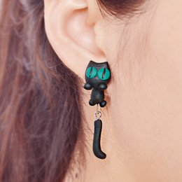 Wholesale New Womens Jewelry Accessories dimensional cartoon cat Green eyed cat Stud Handmade Animal Cat Polymer Clay Earrings cute earrings