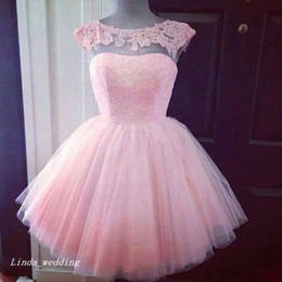 beautiful short gown Promo Codes - Short Princess Pink Prom Dress Beautiful Tulle Lace Women Wear Special Occasion Dress Evening Party Gown