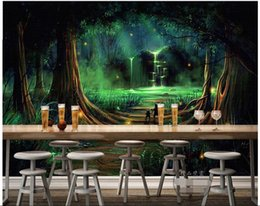 Wholesale Water Painting Photos - 3d wallpaper custom photo non-woven mural Forest waterfall water animals decoration painting bedroom wallpaper for walls 3d