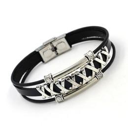Wholesale Wrist Cuff Punk - Punk Rock X Shape Stainless Steel Leather Bracelets Fashion Cuff Bangles Jewelry High Quality Charm Bracelets For Men Women Wrist Fine Gifts