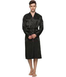 Wholesale Coloured Dresses - Wholesale-Men Satin Pajama Robe Longwear Bathrobe Lightweight Dressing NightGown with 4 colours