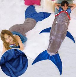 Wholesale boys mermaid - Shark Mermaid Tail Blanket Air Sofa Throw Rugs Fleece Travel Sleeper Stroller Children Sleeping Bag Girls Boys Blankets