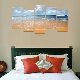 Wholesale Popular Poster - New Ocean Wave On Beach Canvas Painting 5 Panel No Frame Seascape Oil Pictures For Home Decor Wall Art Poster Popular Gift