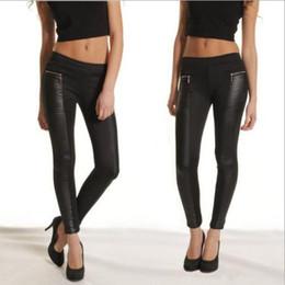 Wholesale Leg Panel - black leggings Ladies Legging Leather Look Panel Leggings Jeggings Womens Zip Stretch Trousers Black Leggings
