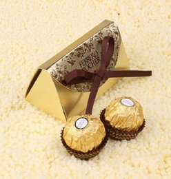 Wholesale Gold Candy Favor Box - 100pcs Wedding Favors and Gifts Baby Shower Paper Candy Box Ferrero Rocher Boxes Wedding Favors Sweet Gifts Bags Supplies