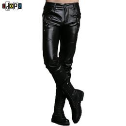 Wholesale Leather Pants 36 - Wholesale- New Autumn&Winter Personality Mens Leather Pants Motorcycle Slim Fit PU Pants Size 27-36 Trousers Black Joggers Pants For Men