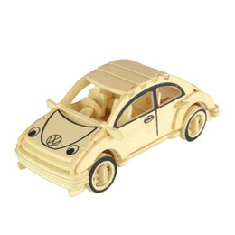 Wholesale 3d Wooden Car Puzzle - Starz 3D Wooden Beetle Car Puzzles Wooden Toys Static Model Wood Craft Building Kits Boy Gifts