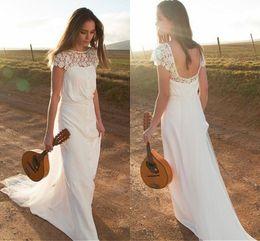 Wholesale Open Back Sheath Wedding Dress - Country Wedding Dresses Sheath 2017 Lace Cap Sleeve Open Back Boho Bridal Gowns Button Sweep Train