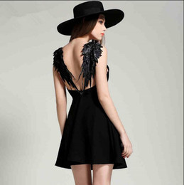 Wholesale Gallus Mini Dress - New Sexy Women Wing ShoulderStraps Bodycon Backless White Little Black Dress Lace Sleeveless Perfect Gallus Gown for Party Wedding Dating