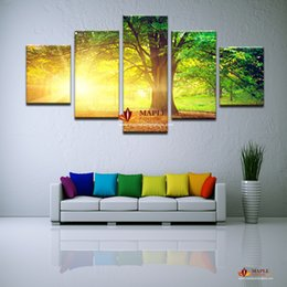 Wholesale Sun Painting Modern Art - 5 Panels Modern Abstract Art CanvasPrinted Sun Tree Painting Picture Cuadros Decoration Canvas Landscape Painting For Living Room No Framed