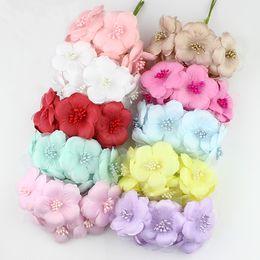 Wholesale Silk Poppy Flowers - 6cm Artificial camellia flower Bouquet, Multicolor silk poppy rose flowers for wedding Scrapbooking decoration,60pcs lot