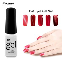 Wholesale Cheap Lacquer - Wholesale- Verntion Magnetic 3D Cat Eye Long-lasting Nail Gel Polish Soak Off Lucky Colors Gel Lacquer Top and base coat Cheap Gel Varnish