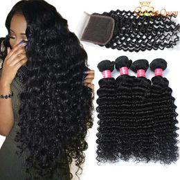 Wholesale Hair Deep - Brazilian Deep Wave With Closure Hair Bundles With 4x4 Closure 3 Bundles Brazilian Virgin Hair With Closure Unprocessed Human Hair Weaves