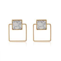 Wholesale Animal Marbles - Hollow Geometric Triangle Round Stud Earring Minimalist Charm White Stone Marble Earrings Women Girl Sister Fashion Ear Jewelry
