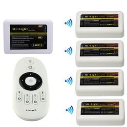 rosh a mené la lumière de bande Promotion Interrupteur variateur de lumière à DEL Mi-light WIFI 2,4 V 12 V 24 V 4 zones pour la couleur unique SMD 5630 5050 3528 Ruban lumineux à LED Lampada Télécommande Contrôle CE ROSH