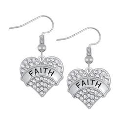 Wholesale Faith Earrings - Myshape Engrave Letter FAITH Earrings & Bracelet & Pendant Necklaces &Pendant Charms Jewelry Rhodium Plated Crystal Pendant Jewelry