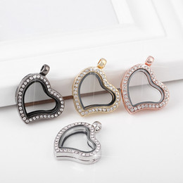 Wholesale Wholesaler Glass Photo Frames - Heart love Floating locket DIY Jewelry Living Memory photo glass crystal frames open charm floating lockets pendants for necklace 160294