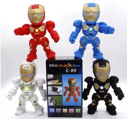 Wholesale Packing Robots - C-89 Iron Man bluetooth speaker with LED Flash light Iron Man figure Robot portable Mini wireless subwoofers support TF FM USB +Retail Pack