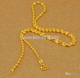 Wholesale Solid Gold Jewelry Wholesalers - Wholesale-Water Wave Necklace Chain Women Solid 24K Yellow Gold Filled Necklace Chain Valued Wedding Jewelry