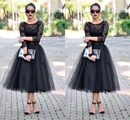 Wholesale Long Sleeve Tea Length Gown Peplum - Cheap 2016 Tea Length Prom Dresses 3 4 Long Sleeves Jewel A Line Black Evening Gowns Lace Long Party Dresses