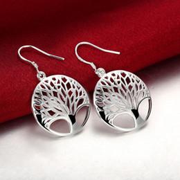 fil de soie jaune Promotion Boucles d'oreille vie arbre plaqué argent 925 femmes boucles d'oreilles Hoop Chandeliers de l'arbre de vie