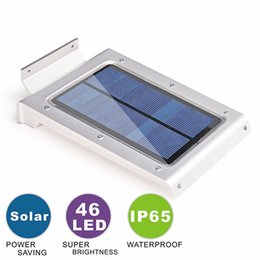 Wholesale Ir Light Panel - Small Order 46LED Solar Panel Power Wall Light Outdoor Garden Lamp IR Infrared Motion Sensor Free Shipping