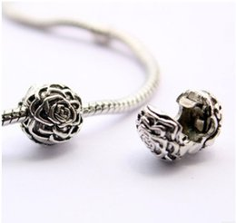 Wholesale European Clip Beads - Rose Silver Clip With Silver Plated Flower Lock Stopped European Beads Fit Pandora Bracelets & Necklace Christmas Gfits